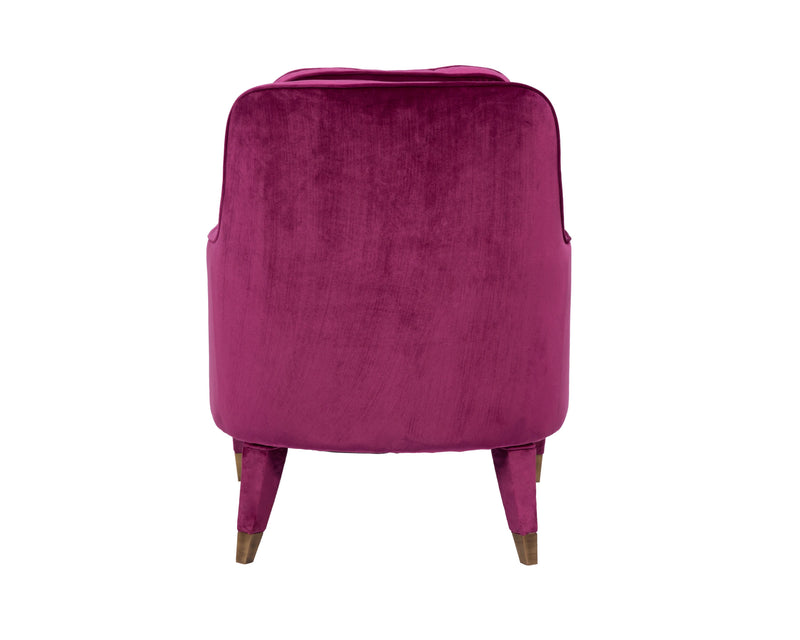 Iconic Home Tzivia Accent Club Chair Sleek Velvet Upholstered Plush Cushion Brass Tip Legs Plum