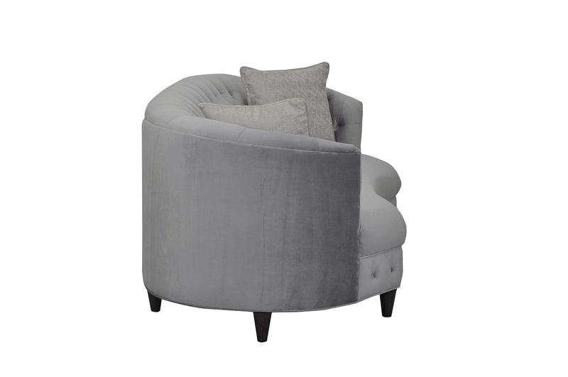 Iconic Home Leeba Kidney Shaped Club Sofa Velvet Button Tufted Espresso Wood Legs Sofa Grey