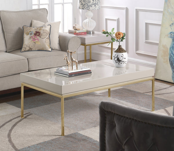 Iconic Home Alcee Alcinia Alcyone Alcestis Alcinda Center Coffee Table High Gloss Lacquer Top Gold Plated Solid Metal Legs Beige Main Image
