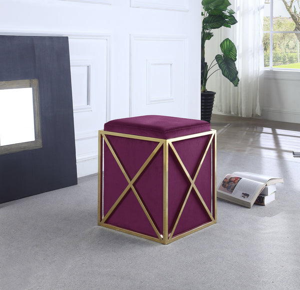 Iconic Home Vana Genesis Aalfa Zeleeka Dawn Square Ottoman Velvet Upholstered Brass Finished Stainless Steel X Frame Plum Main Image