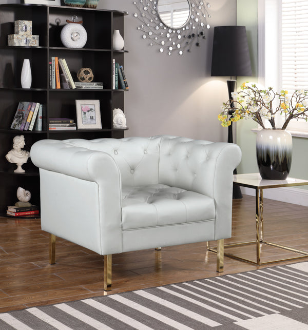 Iconic Home Giovanni Dominic Mateo Julian Noah Club Chair PU Leather Upholstered Button Tufted Gold Tone Metal Legs Cream Main Image