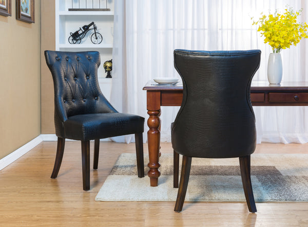 Iconic Home Dickens Shelley Doyle Bronte Austen Dining Side Chair Button Tufted PU Leather Upholstered Espresso Wood Legs Black (Set of 2) Main Image