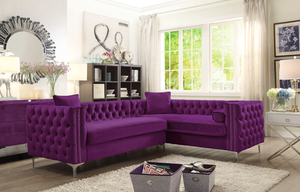 Iconic Home Mozart Weston Astrid Susan Howard Right Facing Sectional Sofa Velvet Button Tufted Nailhead Trim Metal Y-Leg Plum Main Image