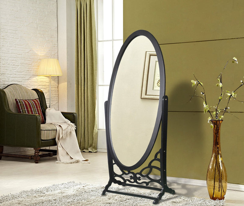 Iconic Home Bowery John Chambers York Canal Cheval Floor Mirror Free Standing Spindle Accent Legs Black Main Image