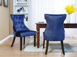 Iconic Home Dickens Shelley Doyle Bronte Austen Dining Side Chair Button Tufted Velvet Espresso Wood Legs Navy (Set of 2) Main Image