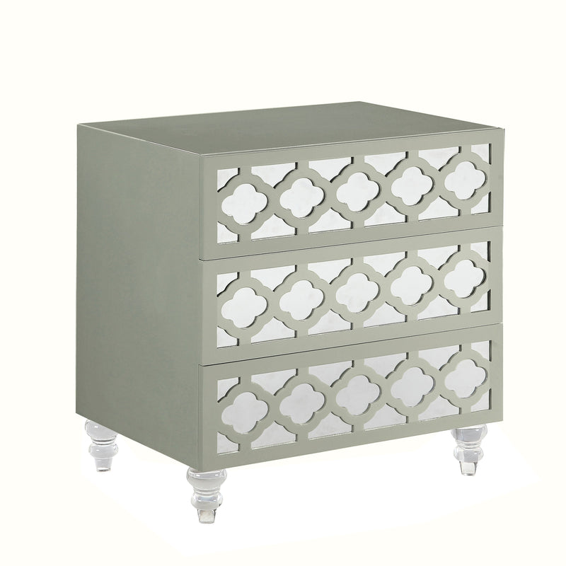 Iconic Home Bergamo Side Table Nightstand 3 Self Closing Mirror Drawers Acrylic Legs Grey
