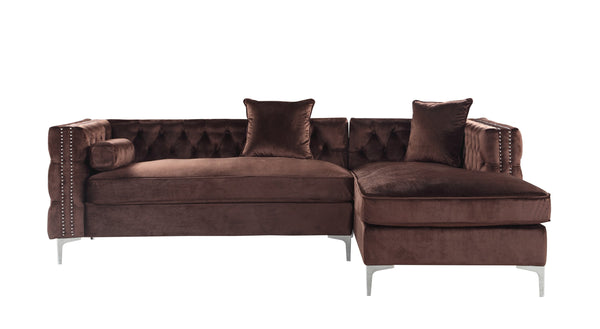 Iconic Home Da Vinci Button Tufted Velvet Right Facing Chaise Sectional Sofa Brown