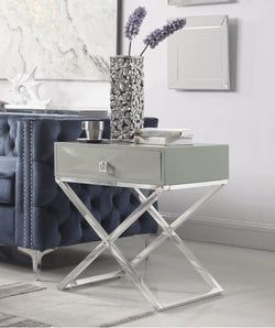 "Iconic Home Ithaca Kisco Westbury Rochester Albany Nightstand Side Table Self Closing Drawer Nickel Finished Metal ""X"" Frame Grey Main Image"