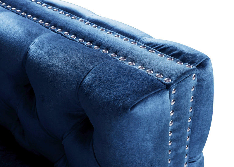 Iconic Home Mozart Left Facing Sectional Sofa Velvet Button Tufted Nailhead Trim Metal Y-Leg Navy