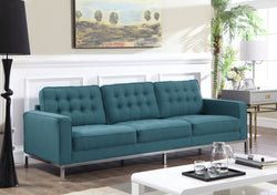 Iconic Home Draper Mayer Tucker Sterling Olson Sofa Three Seat Linen Upholstered Button Tufted Silvertone Metal Legs Blue Main Image