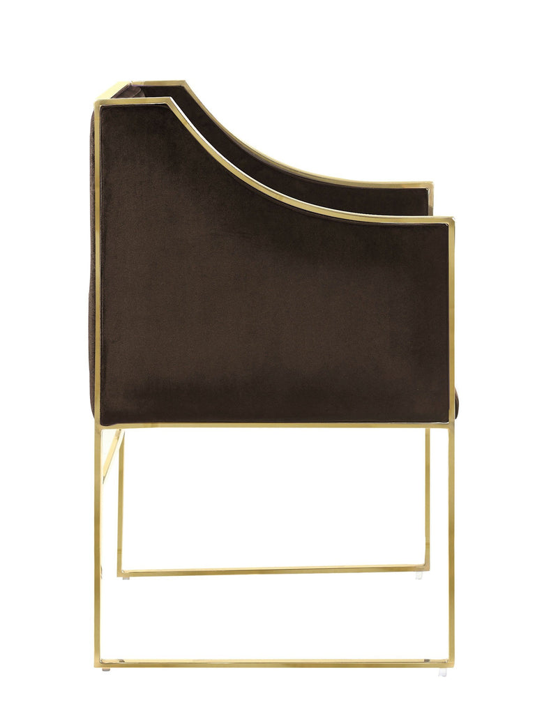 Iconic Home Rowan Accent Club Chair Velvet Upholstered Brass Finished Stainless Steel Frame Brown