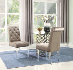 Iconic Home Sharon Sharyn Helga Tate Metzger Dining Side Chair Button Tufted Velvet Upholstered Acrylic Legs Taupe (Set of 2) Main Image