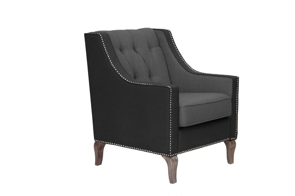 Iconic Home Ethan Accent Club Chair Linen PU Leather Button Tufted Nailhead Trim Wood Legs Black