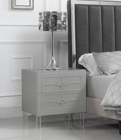 Iconic Home Naples Pompeii Assisi Lucca Amalfi Side Table Nightstand Self Closing Drawers Lacquer Finish Acrylic Legs Grey Main Image