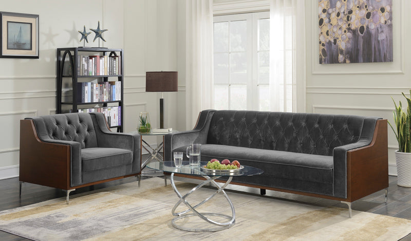 Iconic Home Clark Sofa Button Tufted Velvet Walnut Finish Swoop Arm Wood Frame Metal Y Legs Grey