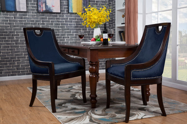 Iconic Home Owen Elijah Benjamin June Oscar Dining Side Chair Velvet Upholstered Nailhead Trim Espresso Wood Frame Legs (Set of 1) Navy Main Image