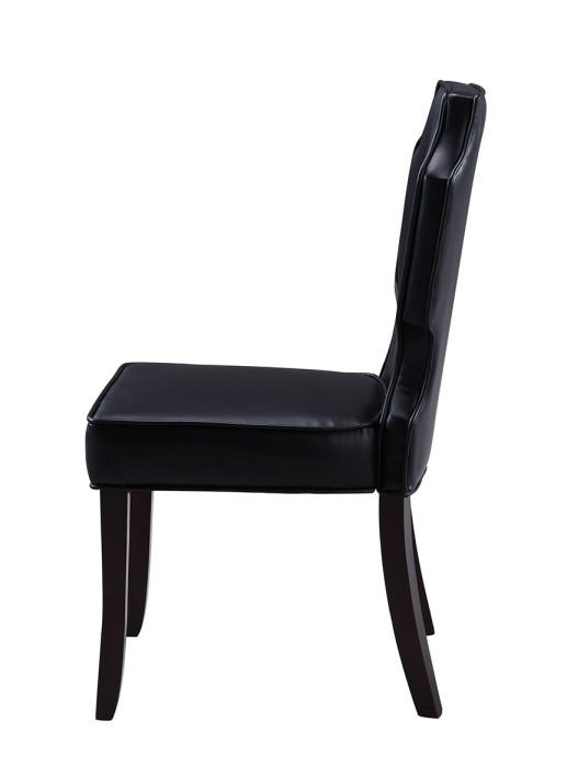 Iconic Home Lennon Dining Chair Button Tufted PU Leather Espresso Wood Frame Black (Set of 2)