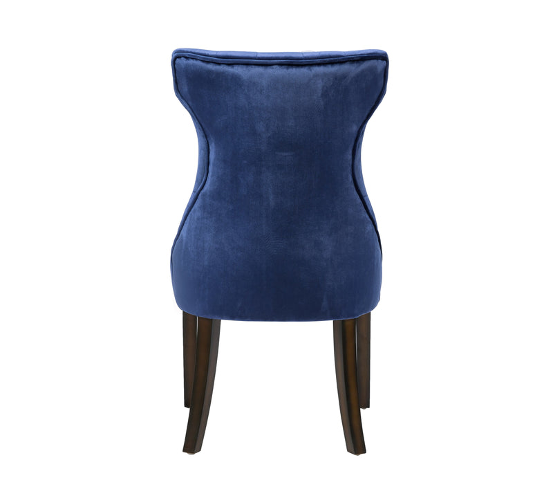 Iconic Home Dickens Dining Side Chair Button Tufted Velvet Espresso Wood Legs Navy (Set of 2)