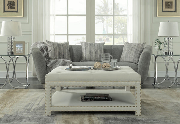 Iconic Home Bina Dara Quinn Micah Tallis Coffee Table Ottoman Linen Upholstered Nailhead Trim 2 Layer Bench Beige Main Image