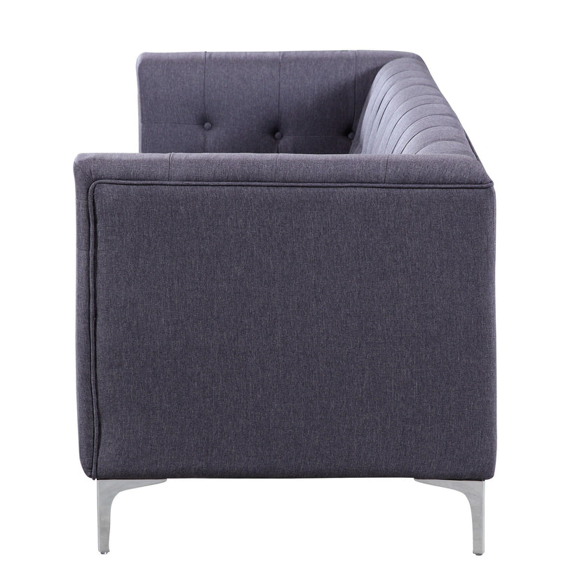 Iconic Home Capone Linen Biscuit Tufted Silvertone Metal Y-Leg Sofa Grey