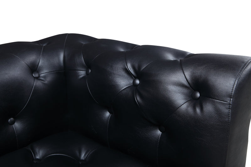 Iconic Home Giovanni Left Facing Sectional Sofa L Shape PU Leather Upholstered Gold Tone Legs Black