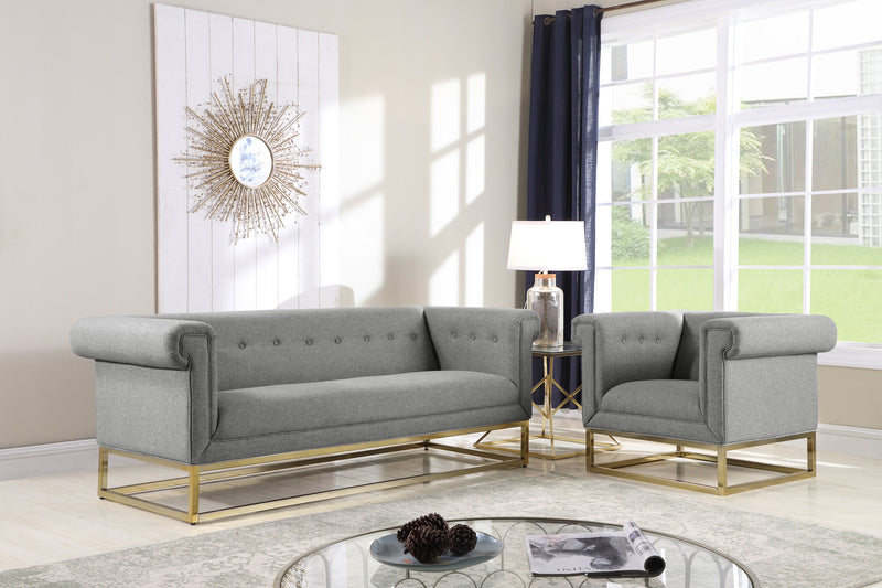 Iconic Home Palmira Button Tufted Rolled Shelter Arm Sofa Grey