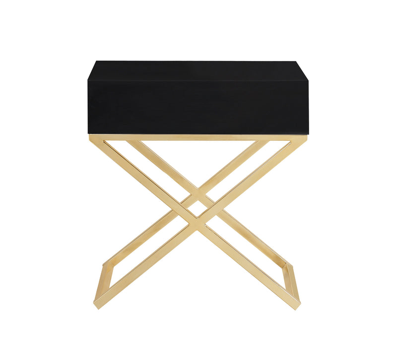 Iconic Home Ithaca Nightstand Side Table Self Closing Drawer Brass Finished Metal X Frame Black