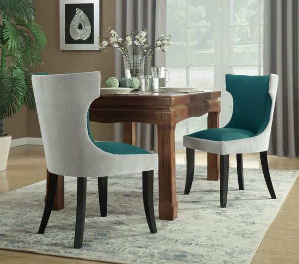 Iconic Home Conrad Narciso Kona Zeke Dino Velvet PU Leather Espresso Wood Frame Dining Side Chair (Set of 2) Grey/Teal Main Image