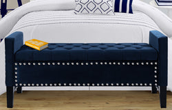 Iconic Home Marcus Ashton Kurt Harvey Nathan Storage Bench Button Tufted Velvet Upholstered Ottoman Navy Main Image