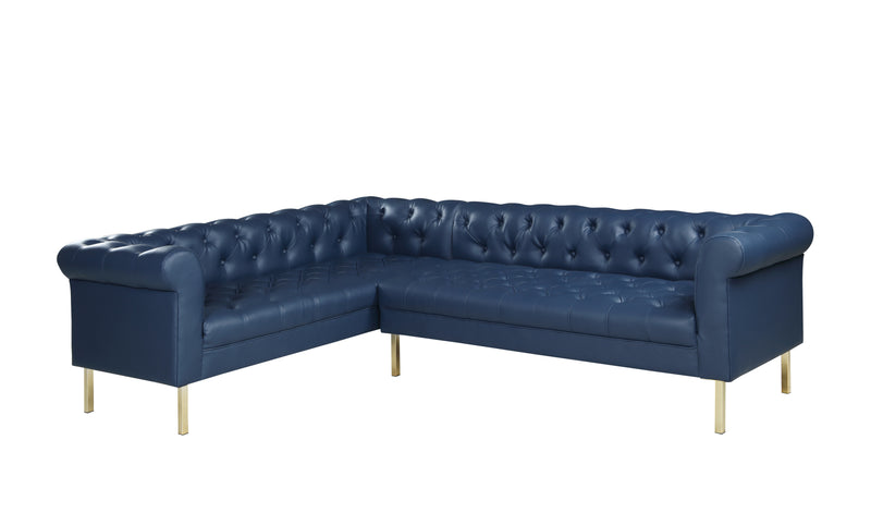 Iconic Home Giovanni Left Facing Sectional Sofa L Shape PU Leather Upholstered Gold Tone Legs Navy