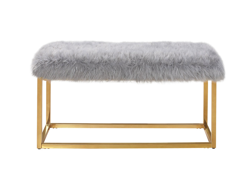 Iconic Home Marilyn Faux Fur High Polish Metal Frame Ottoman Bench Grey