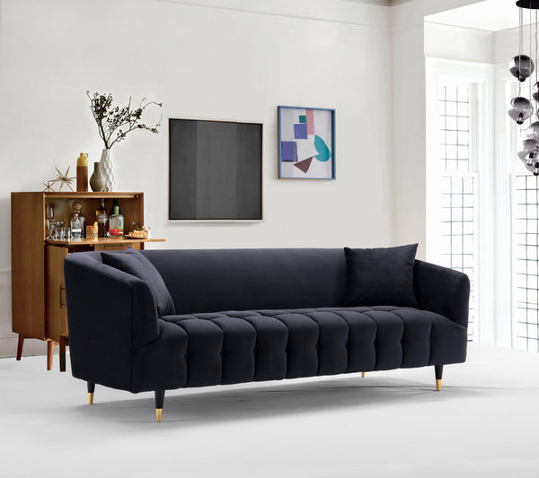 Iconic Home Julia Clara Nora Ella Lydia Sofa Velvet Upholstered Button Tufted Shelter Arm Design Gold Tip Wood Legs Black Main Image