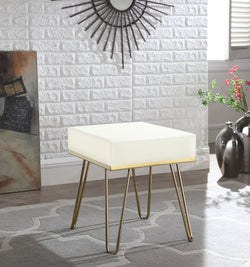 Iconic Home Catania Catheau Catharin Catha Caitlin Square Ottoman PU Leather Upholstered Brass Finished Frame Hairpin Legs Cream Main Image