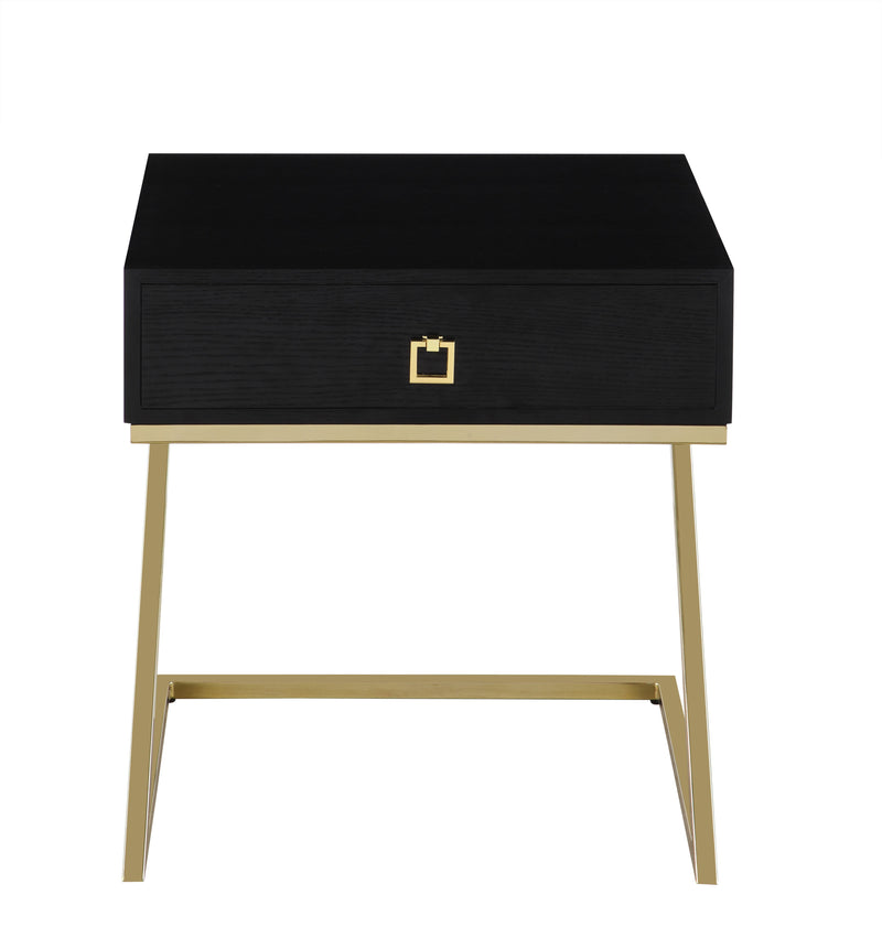 "Iconic Home Cordoba Nightstand Side Table Self Closing Drawer Brass Finished Metal ""Z"" Frame Black"