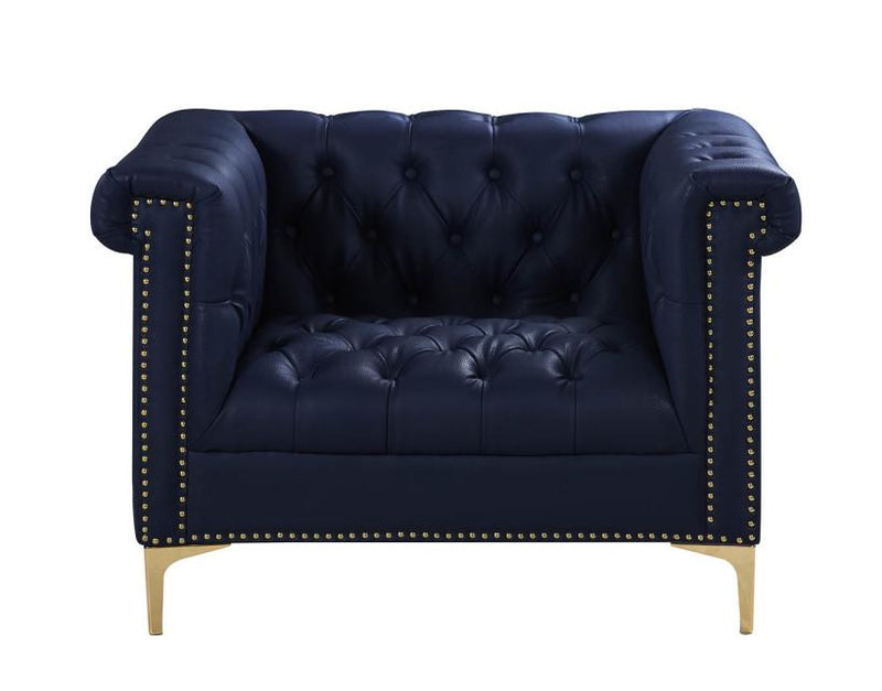Iconic Home Winston PU Leather Button Tufted Nailhead Trim Metal Legs Accent Club Chair Navy