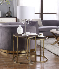 Iconic Home Tuscany Hunter Blayne Olivia Avery Nesting Table 2 Piece PU Leather Top Gibbous Moon Gold Solid Metal Frame Brown Main Image