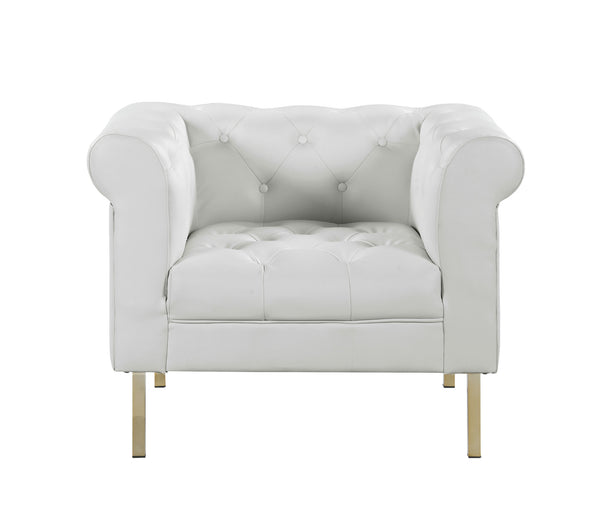 Iconic Home Giovanni Club Chair PU Leather Upholstered Button Tufted Gold Tone Metal Legs Cream