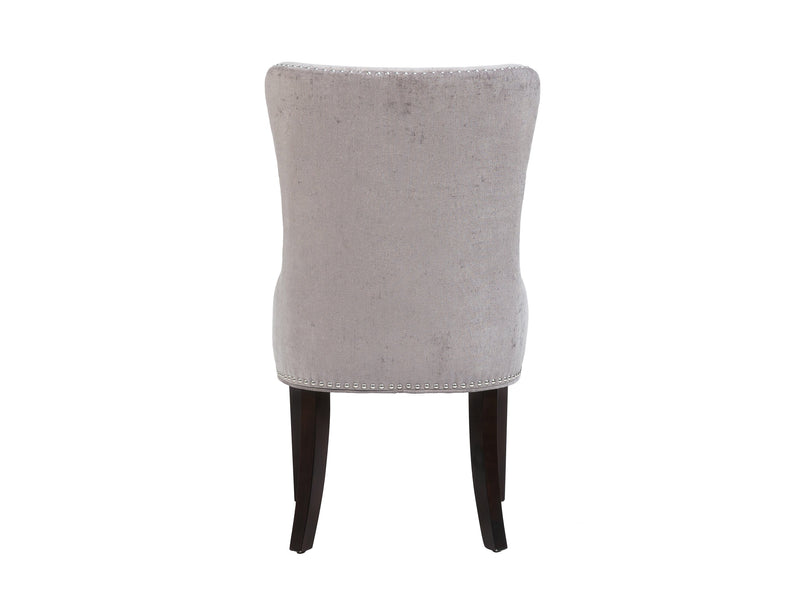 Iconic Home Diana Dining Chair Button Tufted Velvet Upholstery Espresso Wood Legs Grey (Set of 2)