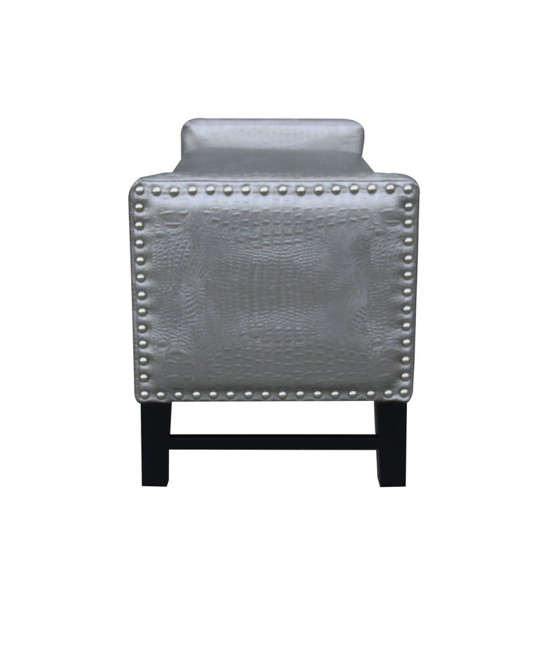 Iconic Home Archer Storage Bench Crocodile Stamped PU Leather Upholstered Espresso Legs Bench Silver
