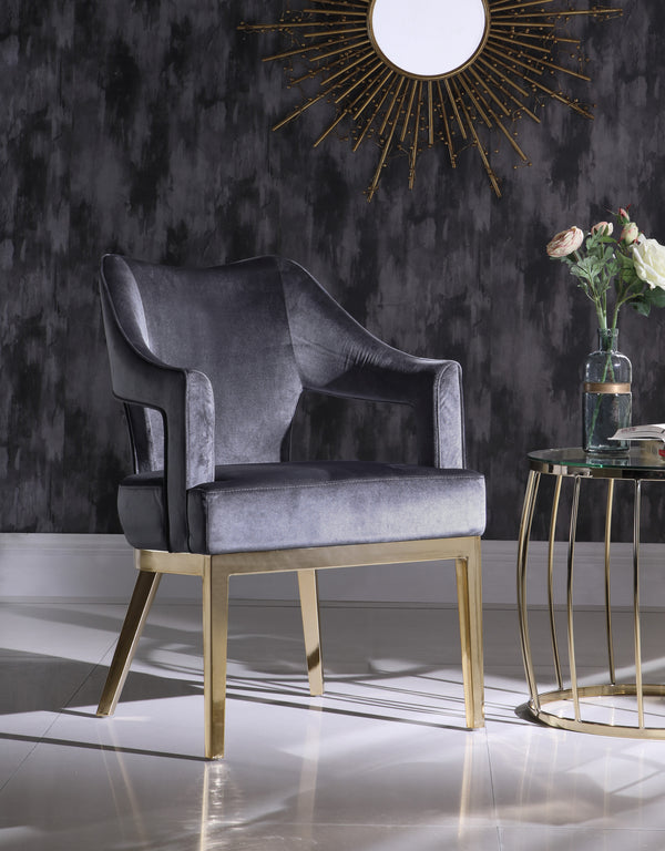 Iconic Home Gourdon Rangi Shri Danu Hebe Accent Chair Plush Velvet Upholstered Swoop Arm Gold Tone Solid Metal Legs Grey Main Image
