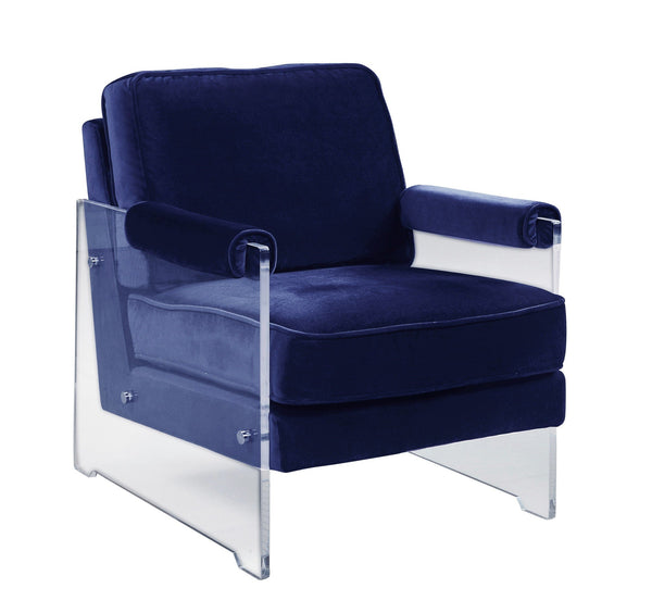 Iconic Home Logan Accent Club Chair Velvet Upholstered Acrylic Frame Navy