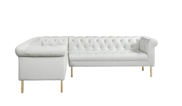 Iconic Home Giovanni Left Facing Sectional Sofa L Shape PU Leather Upholstered Gold Tone Legs Cream