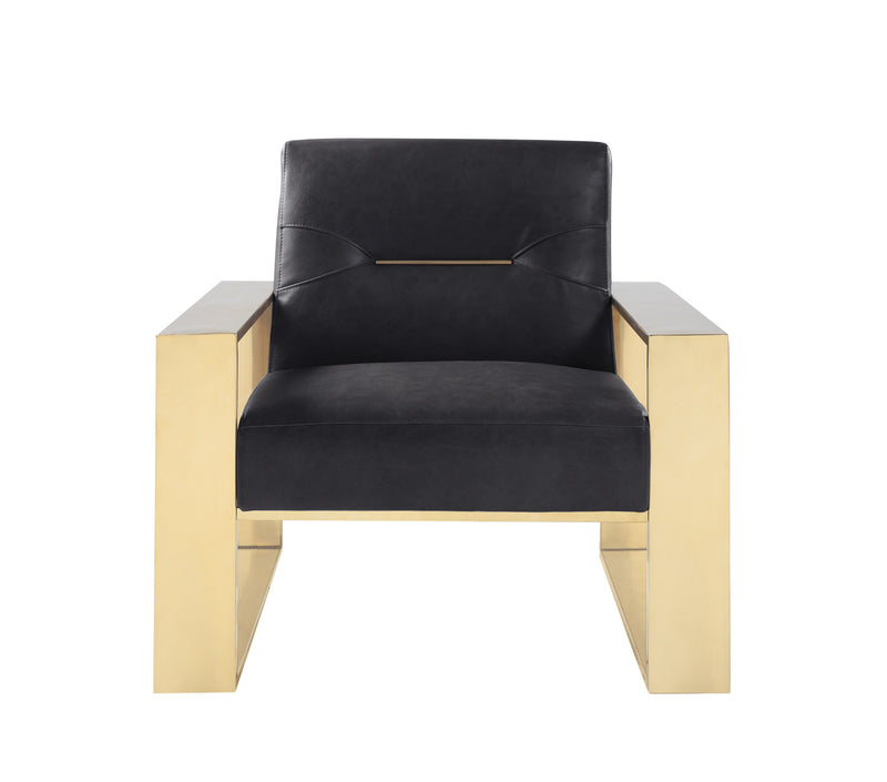 Iconic Home Colton Accent Club Chair PU Leather Upholstered Brass Stainless Steel Frame Black