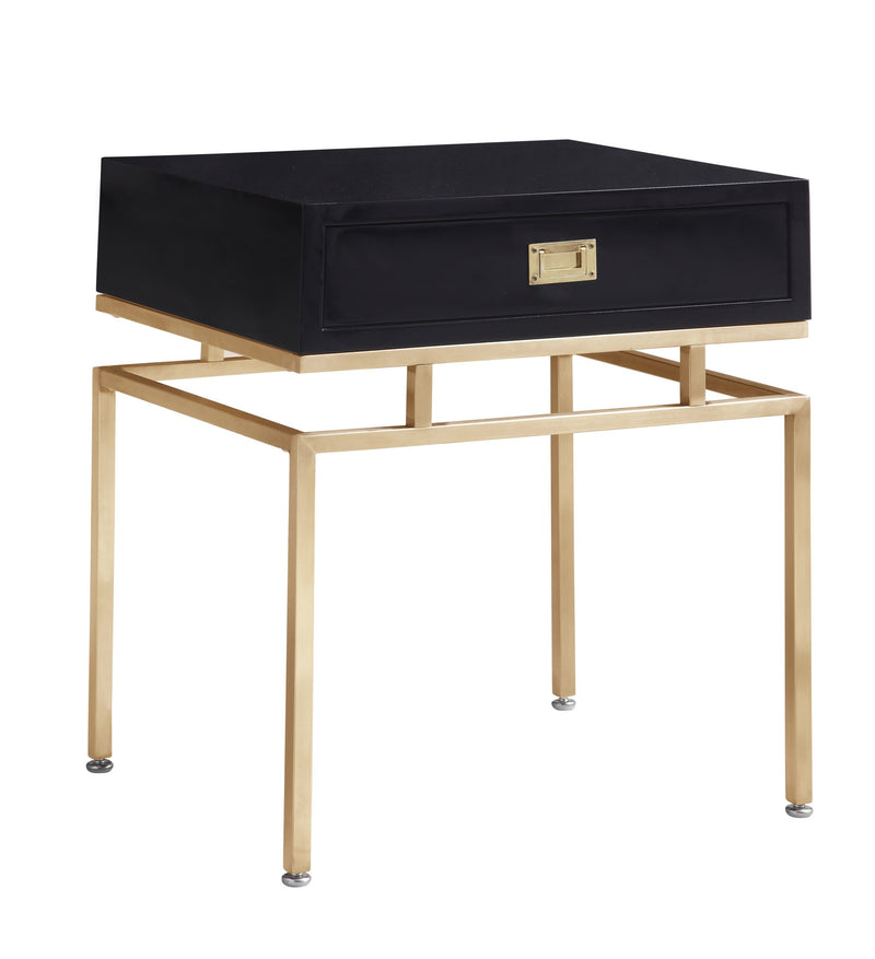 Iconic Home Genoa Side Table Nightstand Brass Base Solid Frame Self Close Drawer Black