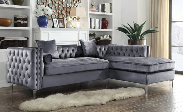 Iconic Home Da Vinci Michelangelo Picasso Monet Bosch Button Tufted Velvet Right Facing Chaise Sectional Sofa Grey Main Image