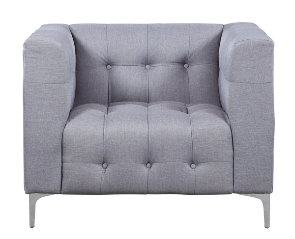 Iconic Home Capone Linen Biscuit Tufted Silvertone Metal Y-Leg Accent Club Chair Smoke
