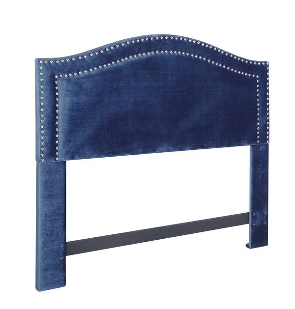 Iconic Home Tal Headboard Velvet Upholstered Double Row Nailhead Trim Navy