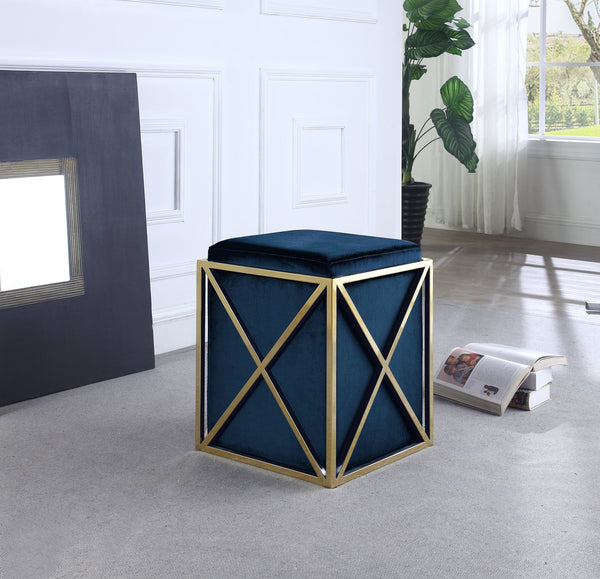 Iconic Home Vana Genesis Aalfa Zeleeka Dawn Square Ottoman Velvet Upholstered Brass Finished Stainless Steel X Frame Navy Main Image