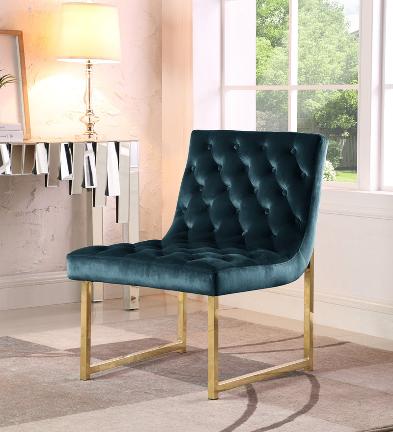 Iconic Home Moriah Esfir Katya Tatiana Sarina Accent Chair Button Tufted Velvet Upholstered Brass Finished Metal Frame Green Main Image