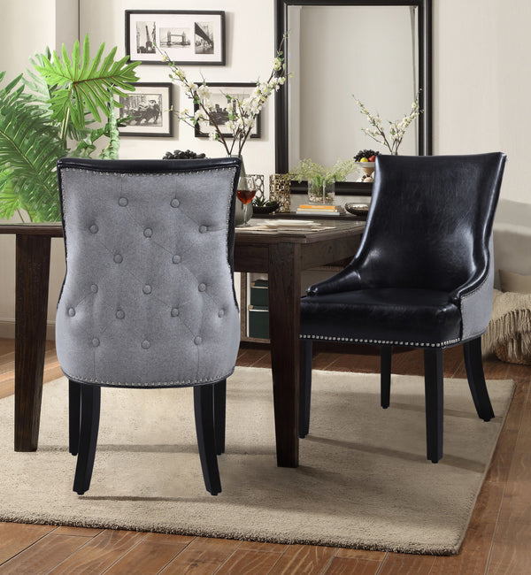Iconic Home Brando Tracy Taylor Cooper Grant Dining Chair PU Leather Linen Upholstery Nailhead Trim Wood Legs Black (Set of 2) Main Image